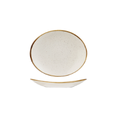 CHURCHILL STONECAST OVAL PLATE 192mm BARLEY WHITE