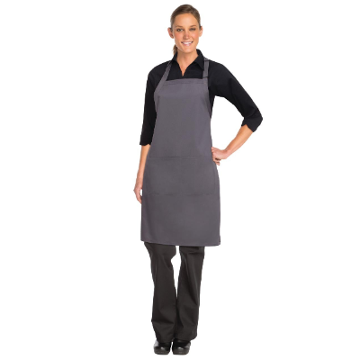 CHEF WORKS BIB APRON GREY