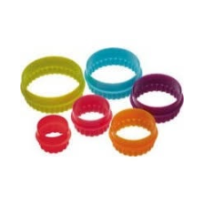 DLINE DOUBLE SIDED ROUND COOKIE CUTTERS SET 6 MULTI COLOURS