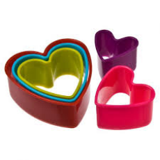 DLINE HEART COOKIE CUTTERS SET 5 MULTI COLOURS