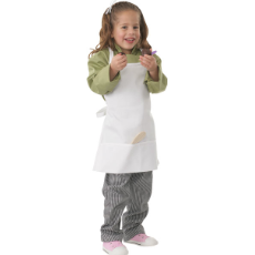 CHEF WORKS KIDS CHEF APRON WHITE WITH 2 POCKETS 47cm X 43cm