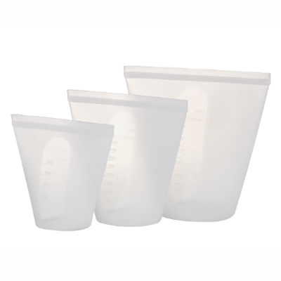 ECO POCKET SILICONE POUCHES 3 PACK CLEAR-250ml, 450ml,700ml