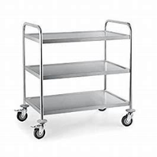 S/S 3 TIER CART HEAVY DUTY WITH 2 BRAKE CASTORS 855X535X940mm