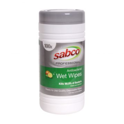 SABCO PROFESSIONAL WET WIPES ANTIBACTERIAL 100PKT