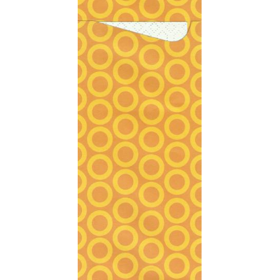 POCHETTA CUTLERY POUCH ORANGE WITH CIRCLES 85X190mm WITH 3PLY NAPKIN 330X330mm CTN 250