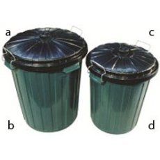 RUBBISH BIN 75Ltr GREEN WITH LID PLASTIC