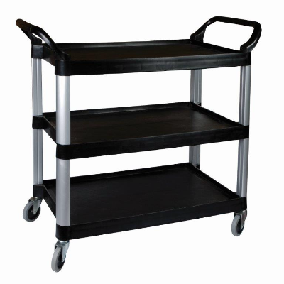 CLASSIK CHEF 3 TIER UTILITY TROLLEY BLACK 106X48X100cm