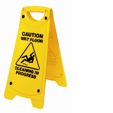 WET FLOOR CAUTION SIGN YELLOW WITH CLEANING IN PROGRESS