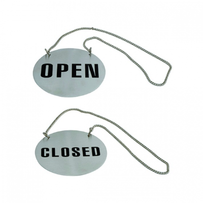 OPEN/CLOSED SIGN S/S ROUND ON CHAIN