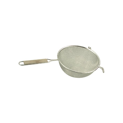 STRAINER DOUBLE MESH 230mm WOO D HANDLE TIN PLATED
