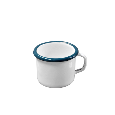 ENAMEL MUG 80ml WHITE WITH BLUE RIM