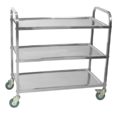 KH CART S/S 3 SHELF 83x51X94CM HIGH 2 LOCKING CASTERS 35kg
