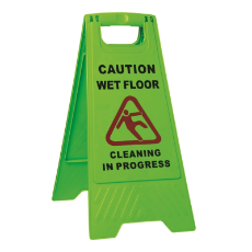 WET FLOOR CAUTION SIGN GREEN WITH CLEANING IN PROGRESS