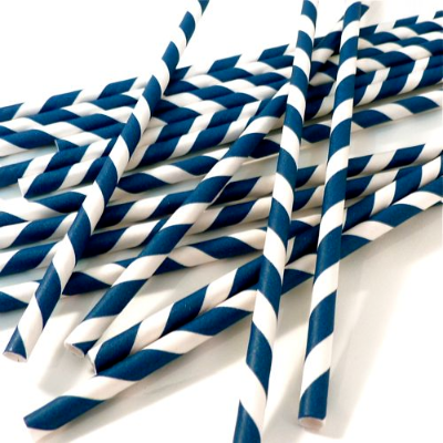 PAPER STRAWS BLUE/WHITE 250/PKT