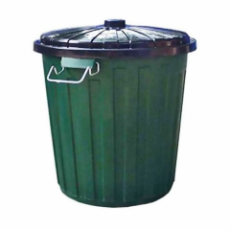 RUBBISH BIN 55Ltr GREEN WITH LID PLASTIC