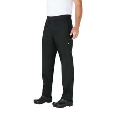 CHEF WORKS CHEF PANTS SLIM FIT BLACK LIGHTWEIGHT LARGE