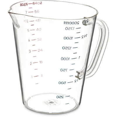 CARLISLE COMMERCIAL MEASURING JUG 2Ltr CLEAR POLYCARB
