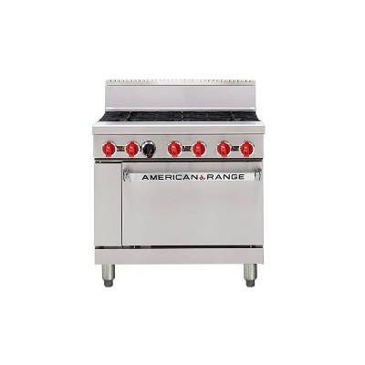 AMERICAN RANGE 6 OPEN BURNER WITH OVEN NATURAL GAS