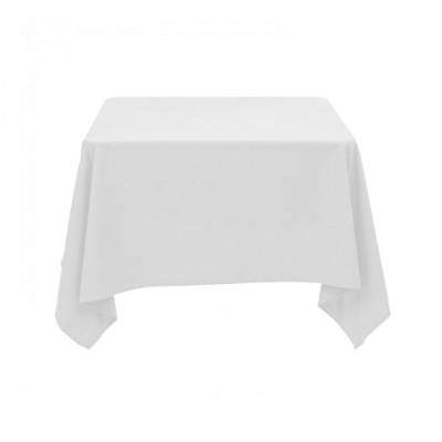 TABLE CLOTH WHITE 100% SPUN POLYESTER 137x137cm