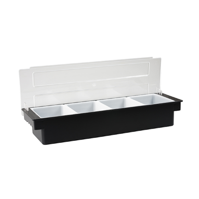 CONDIMENT DISPENSER BLACK PLASTIC 4 COMPARTMENT