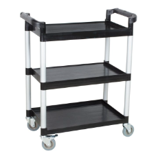 CLASSIK CHEF 3 TIER UTILITY TROLLEY BLACK 81X41X91cm